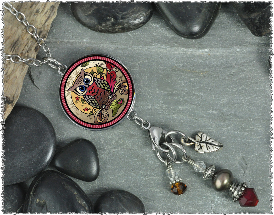 Owl Reversible Circular Charm and Bead Pendant