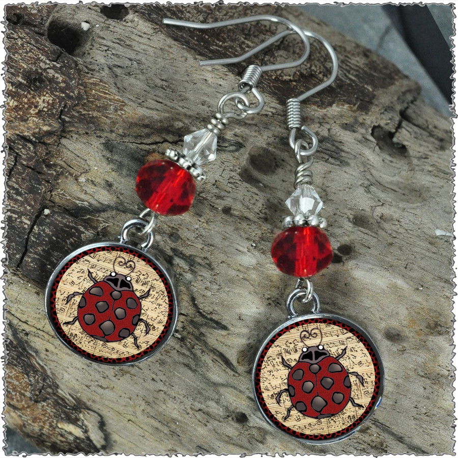 Ladybug Music Crystal Circular Earrings