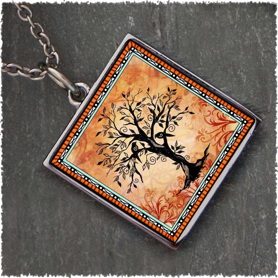 Tree of Life Orange Reversible Square Pendant