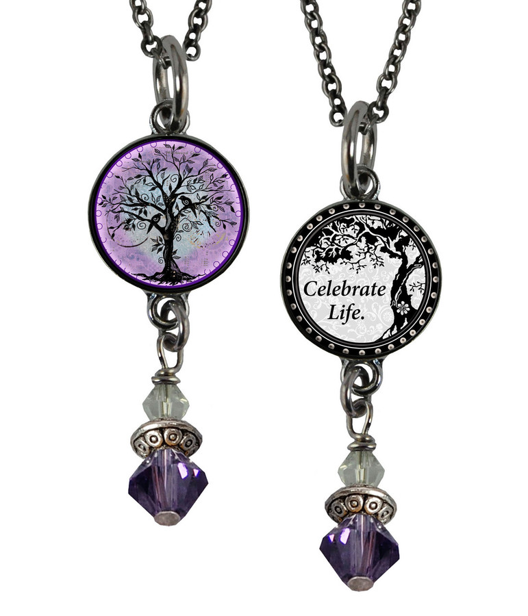 Tree of Life Purple Small Circular Reversible Beaded Pendant