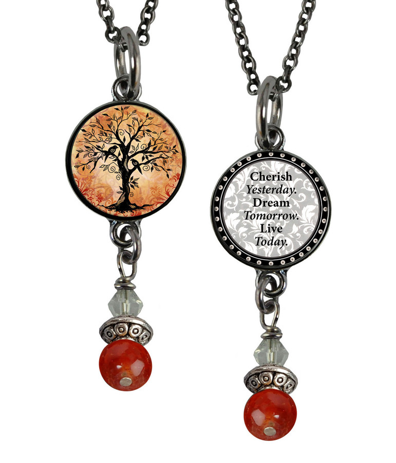 Tree of Life Orange Small Circular Reversible Beaded Pendant