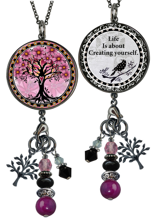 Tree of Life Pink Reversible Circular Charm & Bead Pendant