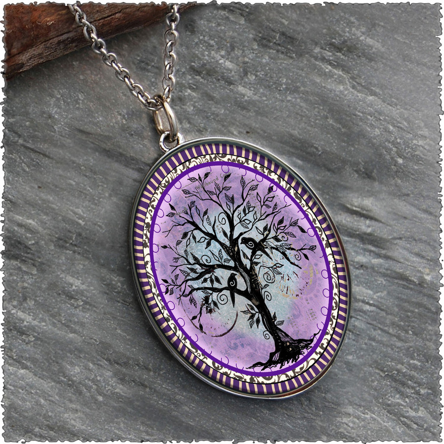 Tree of Life Purple Reversible Silver Oval Pendant