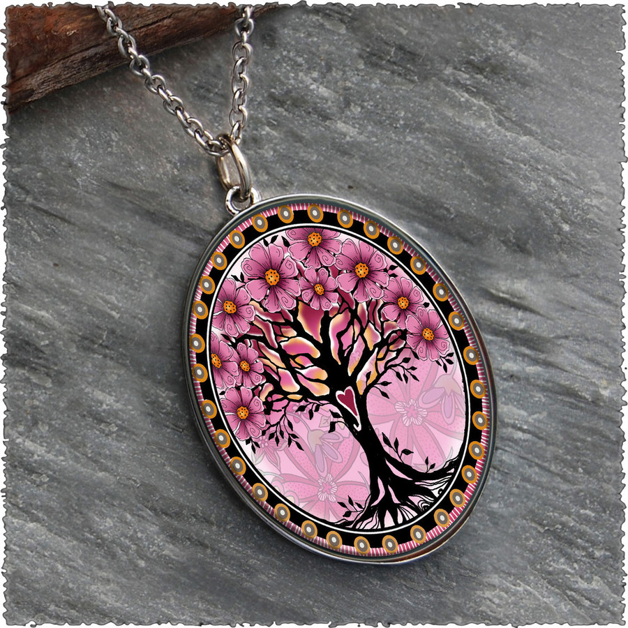 Tree of Life Pink Reversible Silver Oval Pendant