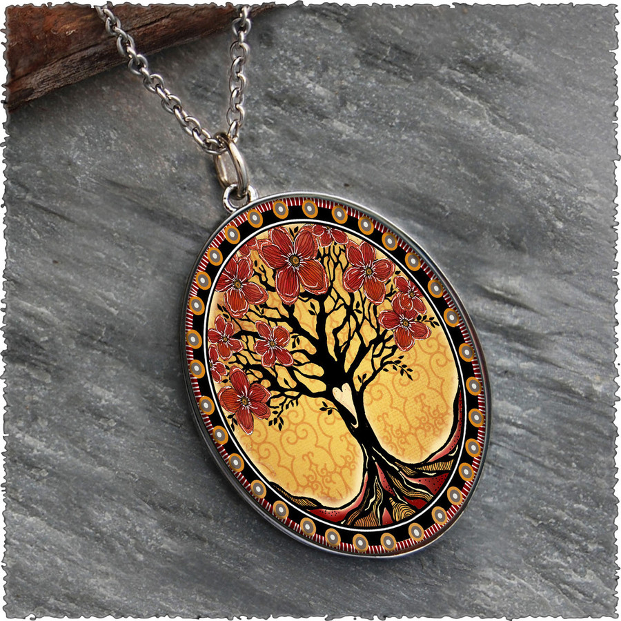 Tree of Life Yellow Reversible Silver Oval Pendant