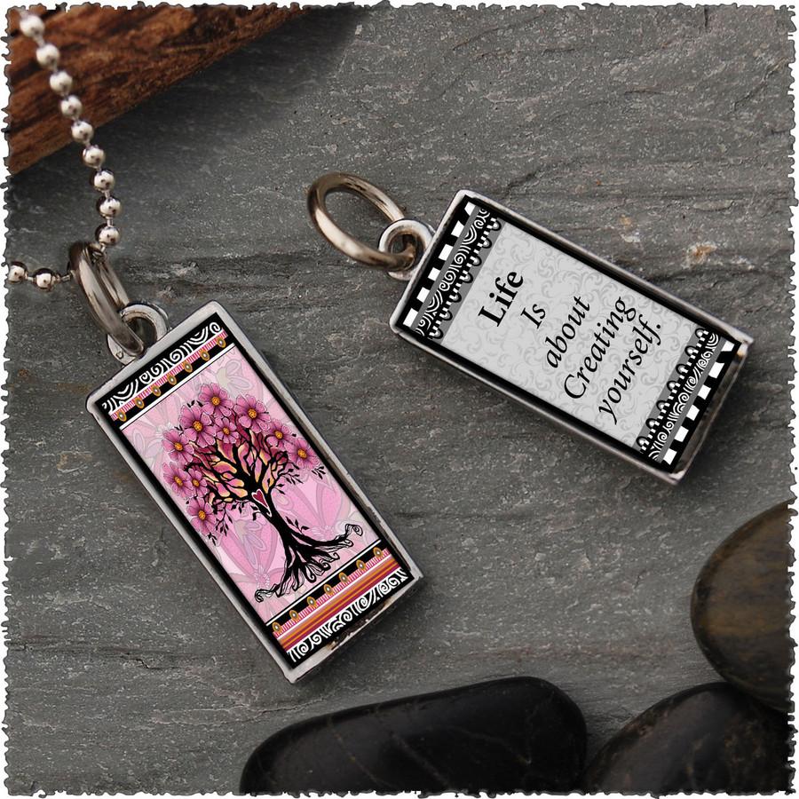 Tree of Life Pink Revesible Rectangular Pendant