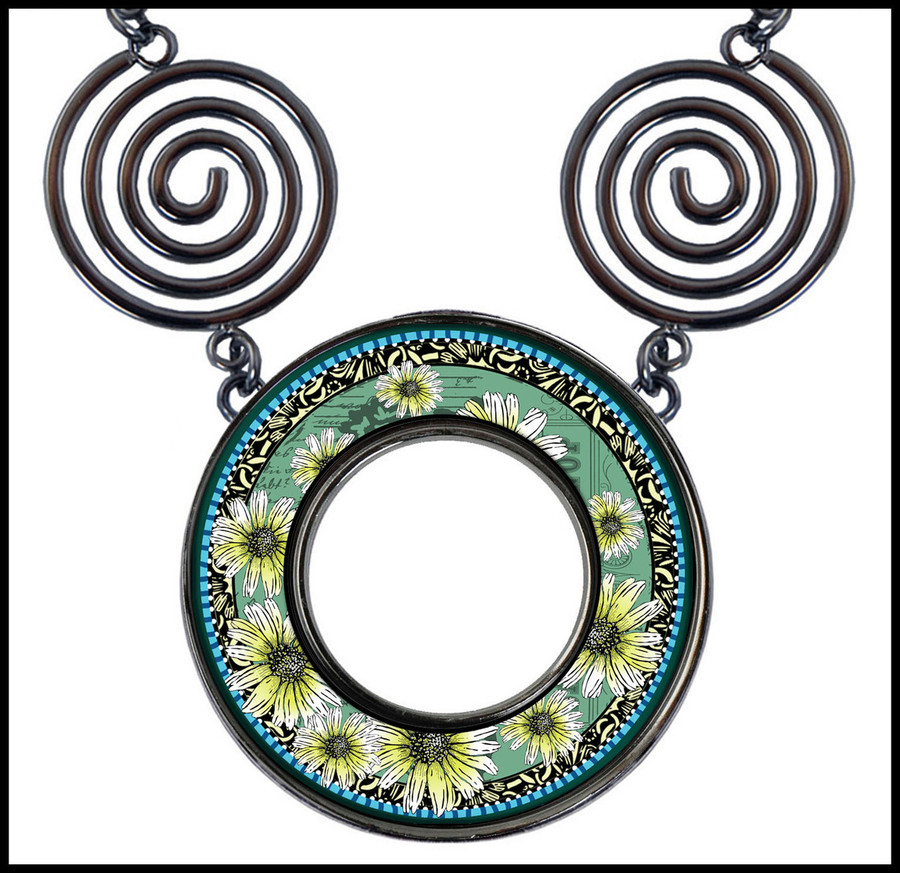 Daisy Green Circle Spiral Necklace