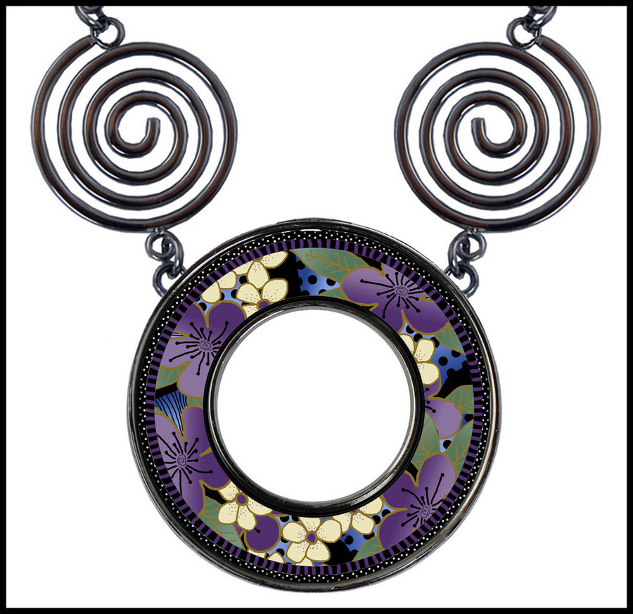 Purple Flower Circle Spiral Necklace