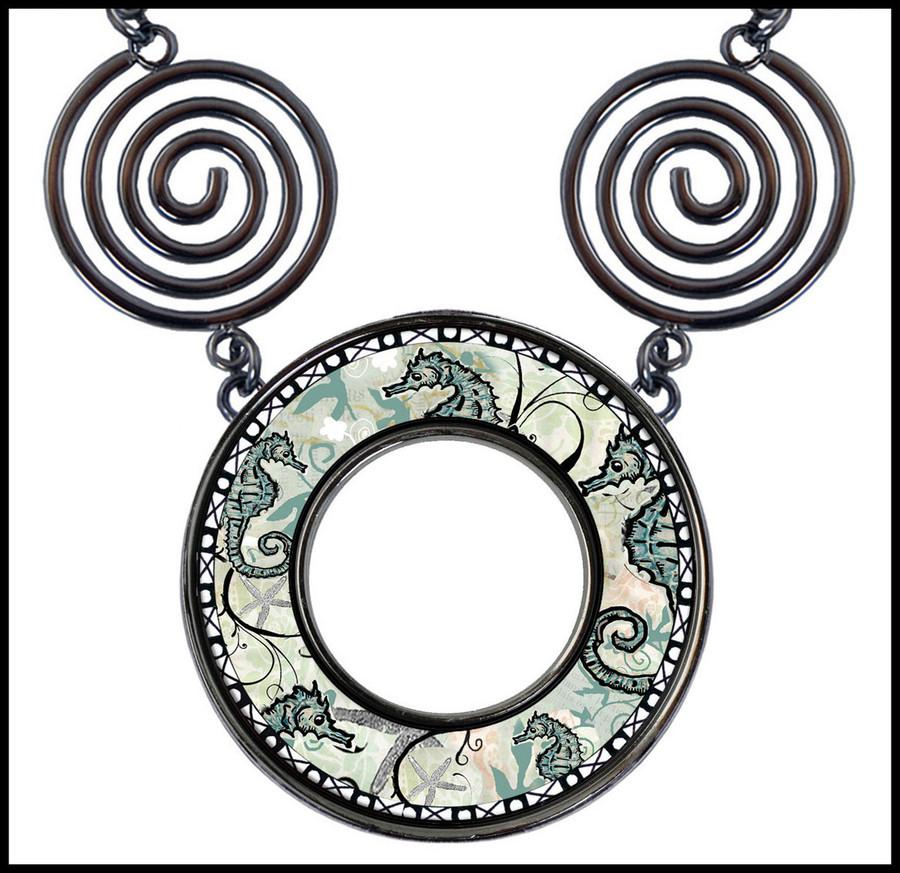 Seahorse Circle Spiral Necklace