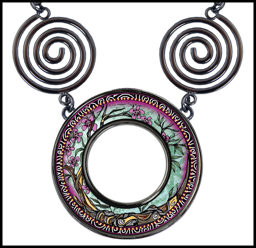 Tree of Life Fusia Circle Spiral Necklace