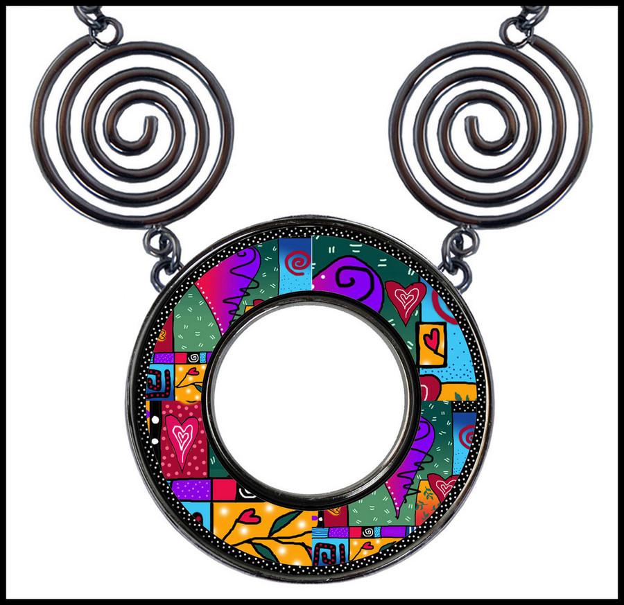 Wild Heart Circle Spiral Necklace