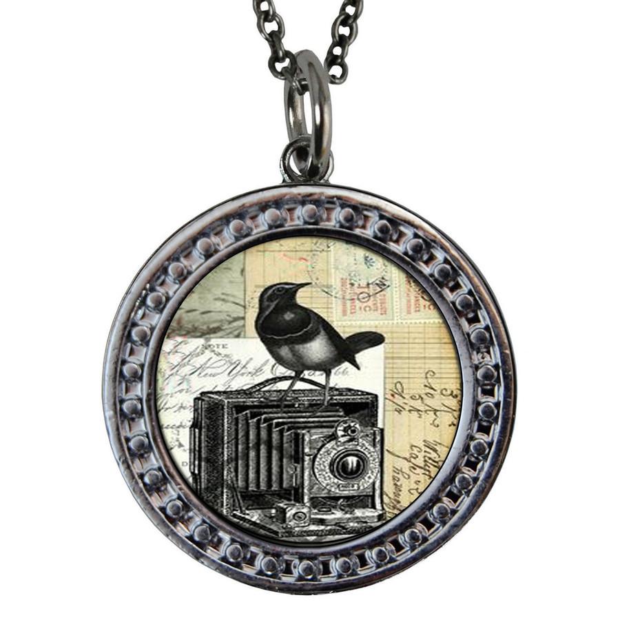 "Camera Circular Reversible Vintage ""Leaf"" Pendant"