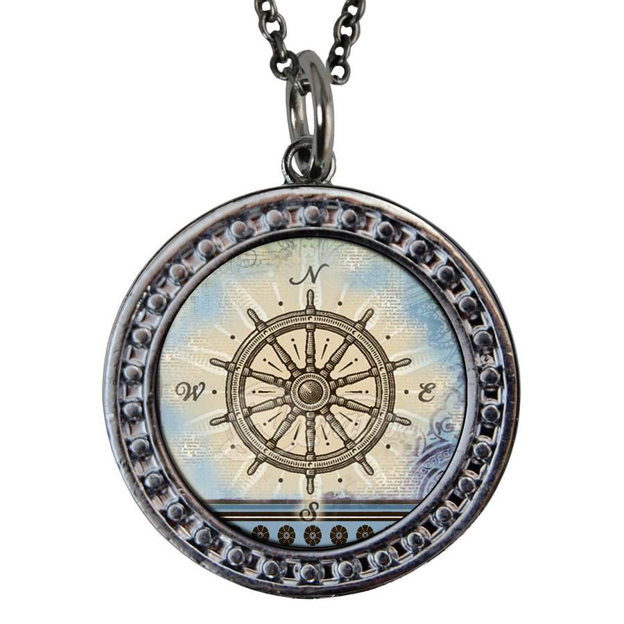"Compass Circular Reversible Vintage ""Leaf"" Pendant"