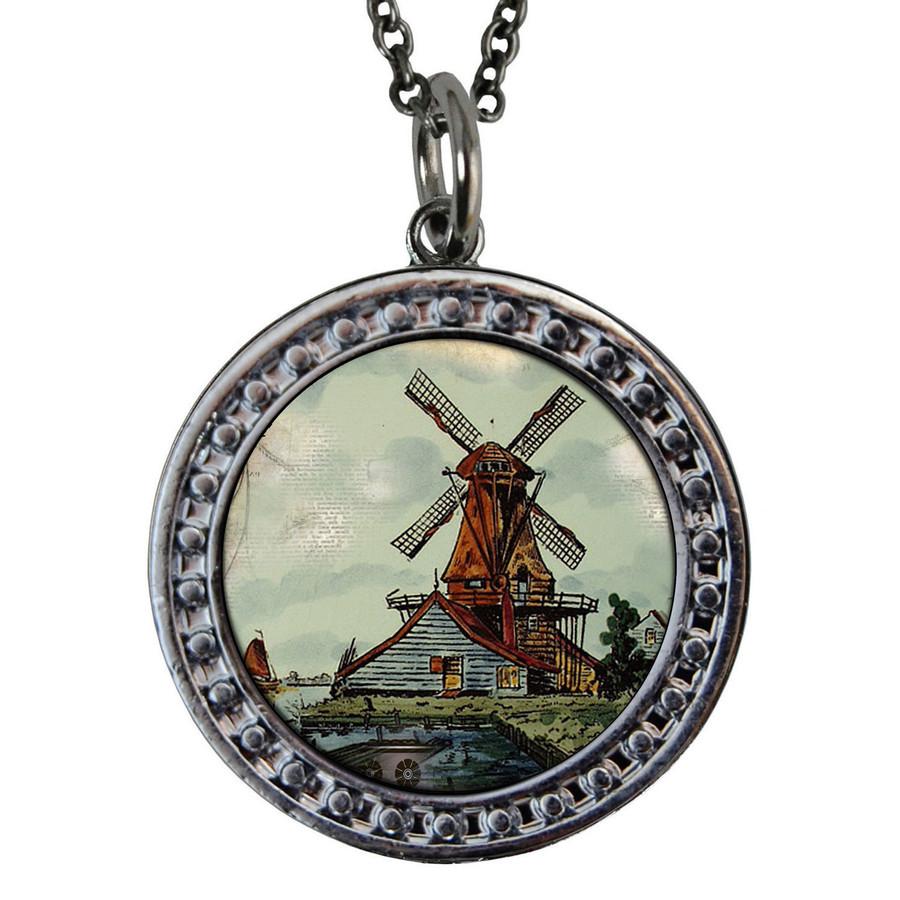 "Windmill Circular Reversible Vintage ""Leaf"" Pendant"