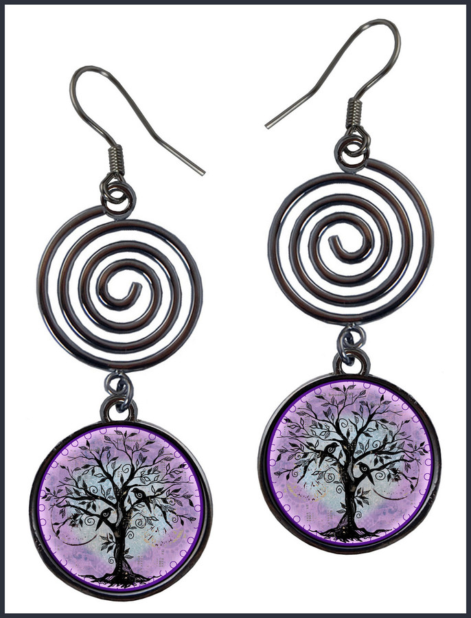 Tree of Life Purple Circle Spiral Earrings