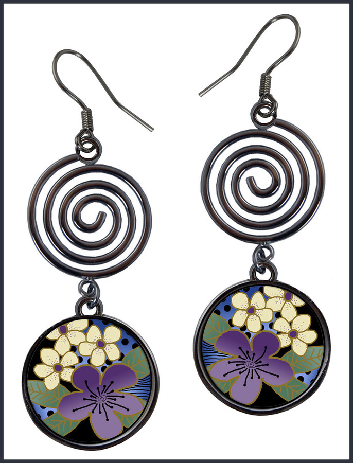 Purple Flower Circle Spiral Earrings