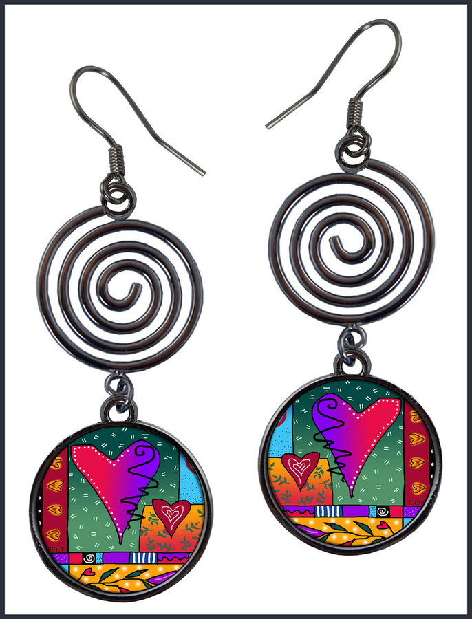 Wild Heart Circle Spiral Earrings