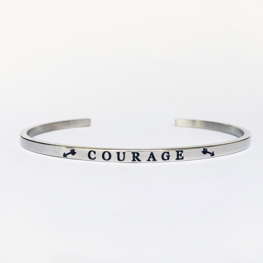"""COURAGE"" Stainless Steel Cuff Bracelet"