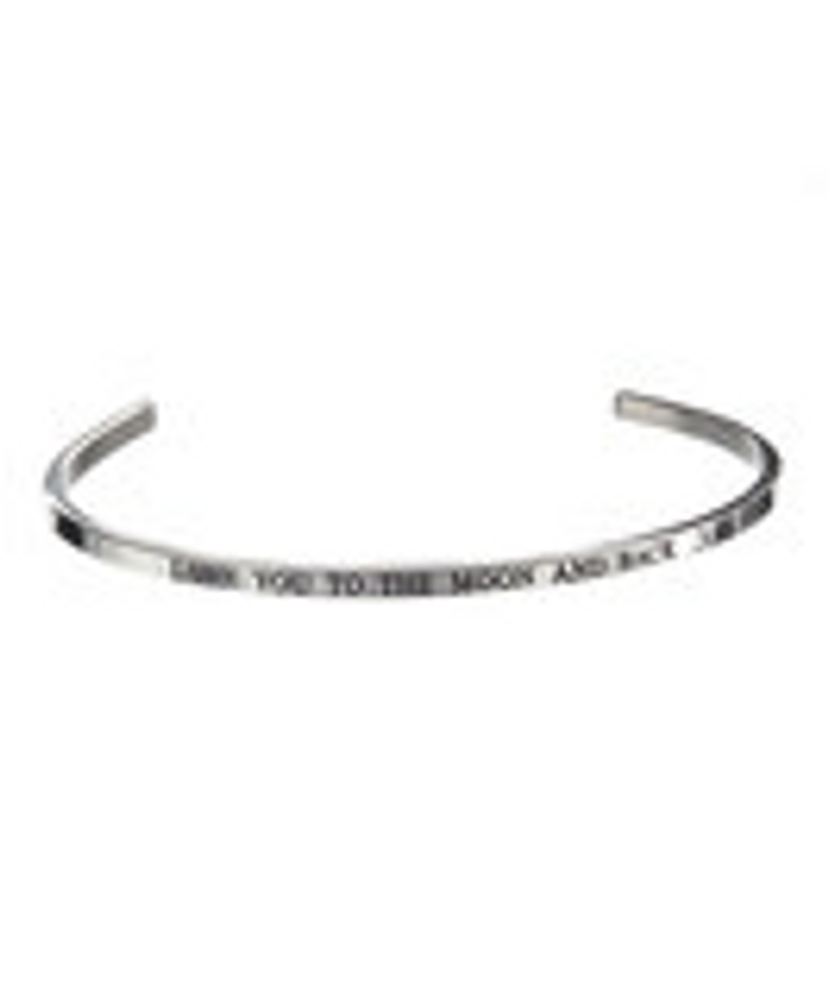 """""""LOVE YOU TO THE MOON AND BACK"""" Stainless Steel Cuff Bracelet"""