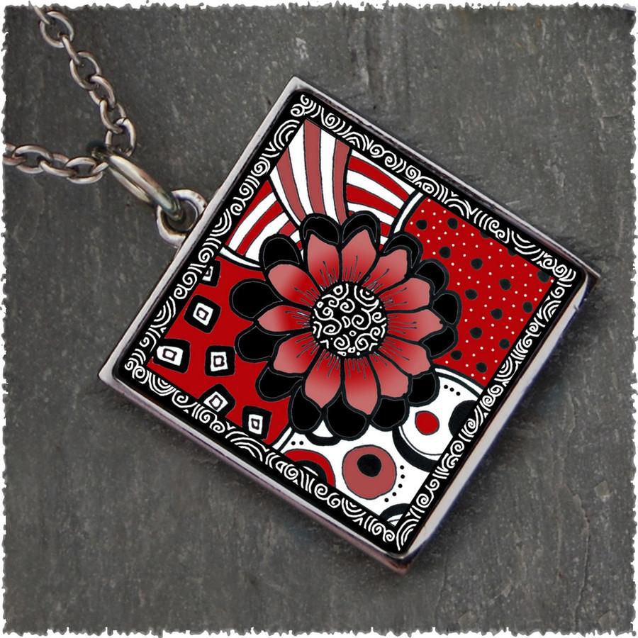 Black White Red Flower Square Reversible Pendant