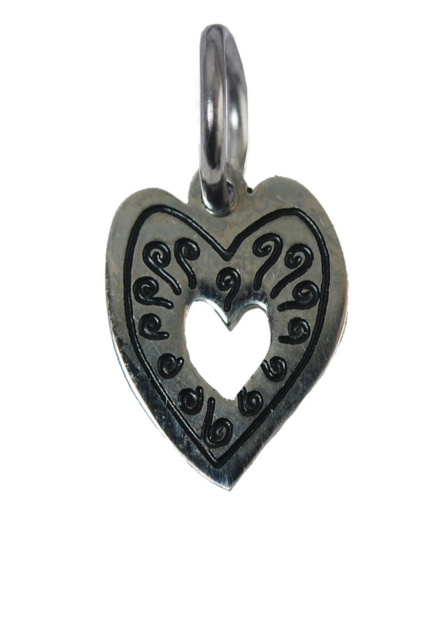 Heart with Swirls Stainless Steel Charm