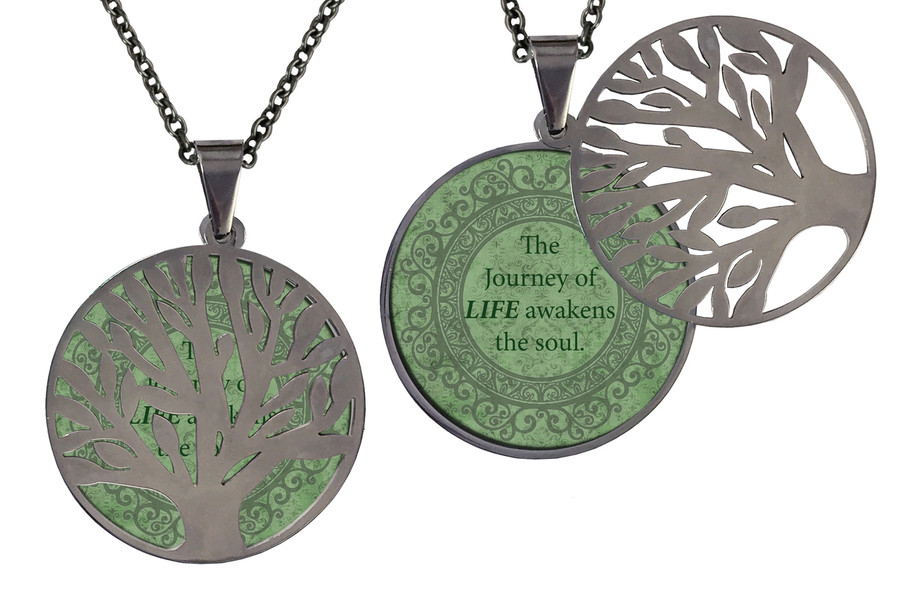 "Poetry Tree - Green Background - The Journey Of Life Awakens The Soul. Stainless Steel Tree of Life on Stainless Steel Chain. Nice Quality Substantial Weight. 28"" Regular Stainless Steel Chain W- 1 1/8, H- 1 1/8, D- 1/8"" (thick)"