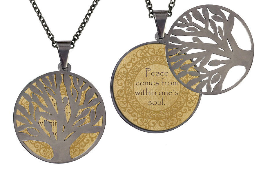 """Poetry Tree - Gold Background - Peace Comes From Within One's Soul. Stainless Steel Tree of Life on Stainless Steel Chain. Nice Quality Substantial Weight. 28"""" Regular Stainless Steel Chain W- 1 1/8, H- 1 1/8, D- 1/8"""" (thick)"""