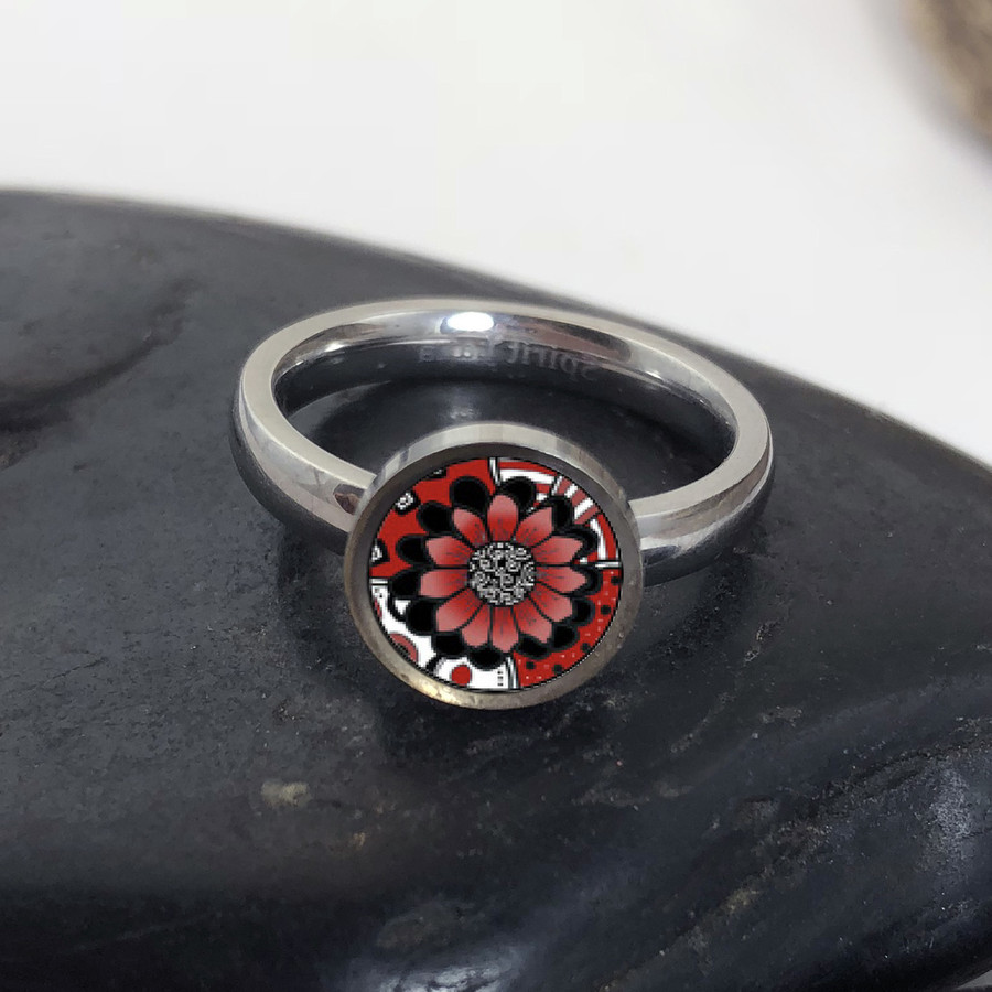 Red Abstract Flower Stainless Art Ring