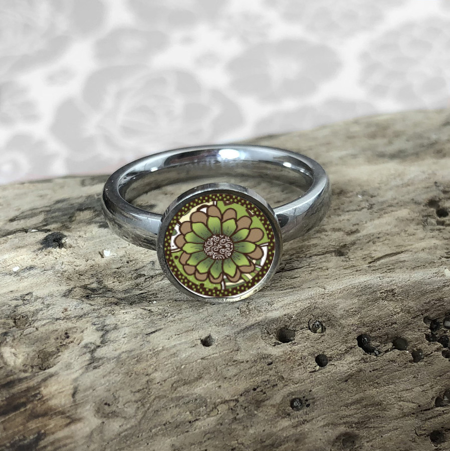 Green Abstract Flower Stainless Art Ring