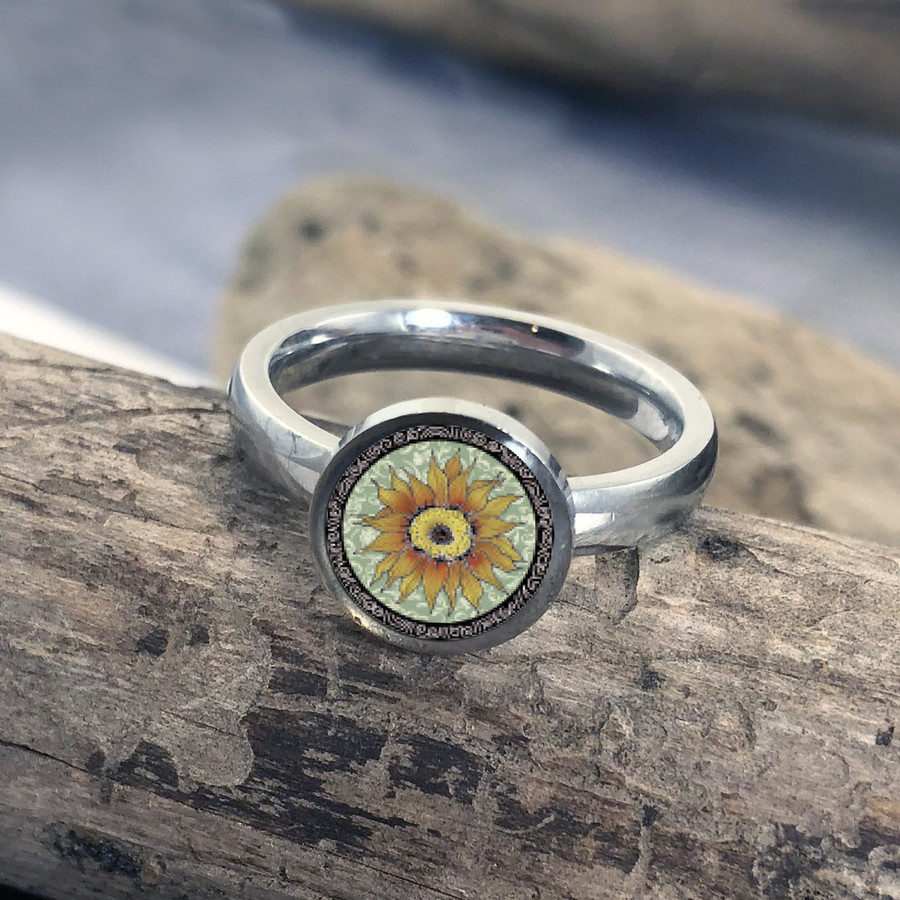 Green Sunflower Stainless Art Ring