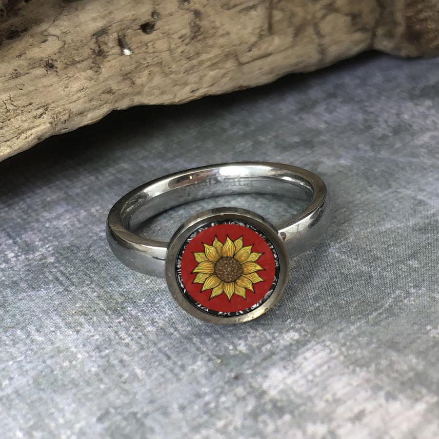 Red Sunflower Stainless Art Ring