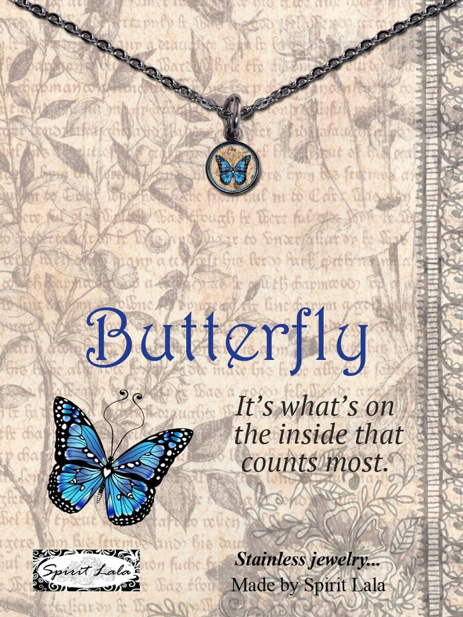 Carded Blue Monarch Butterfly Small Circle Necklace
