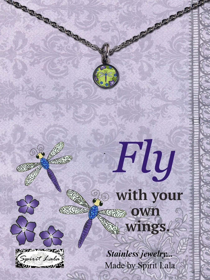 Carded Dragonfly Small Circle Necklace