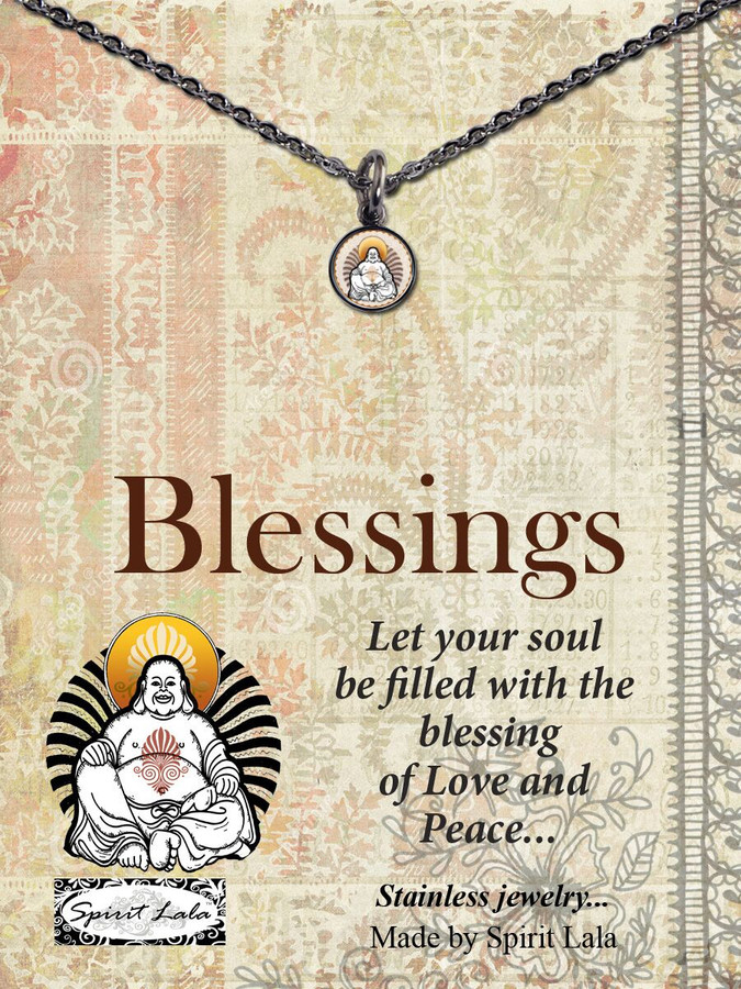 Carded Buddah Blessings Small Circle Necklace