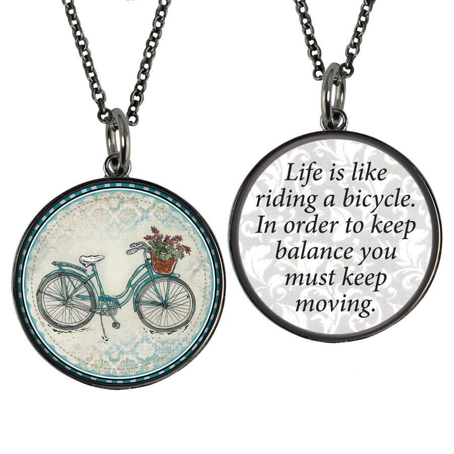 Beach Bike Reversible Circular Pendant