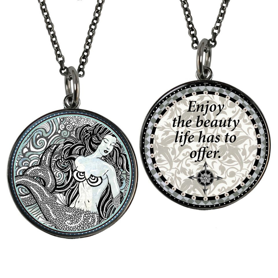 Mermaid B/W Reversible Circular Pendant