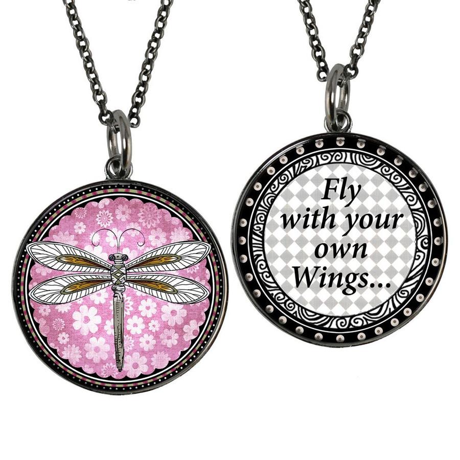 Pink Dragonfly Reversible Circular Pendant