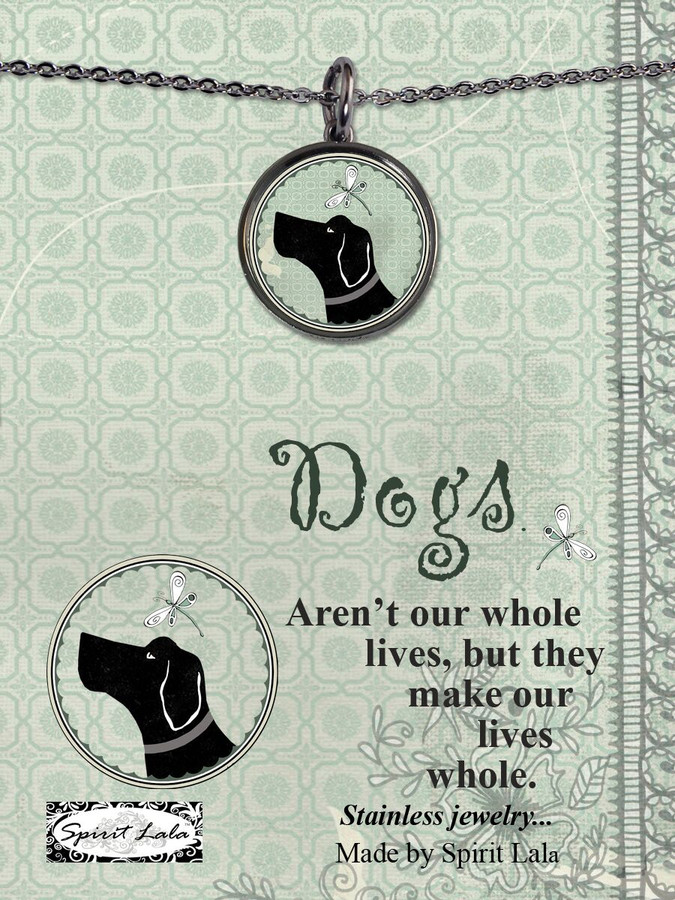 Carded Vintage Dog Reversible Medium Circular Necklace
