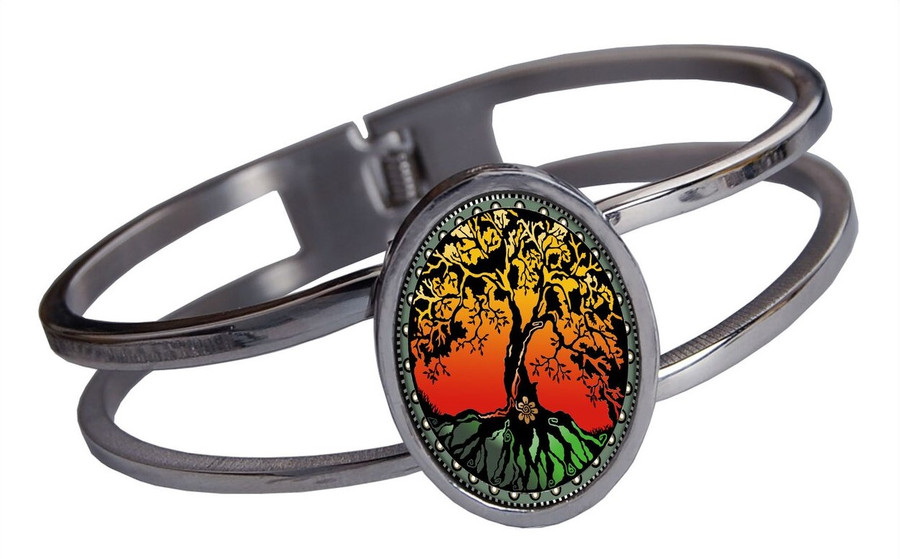 Tree of Life Color Stainless Cuff Bracelet