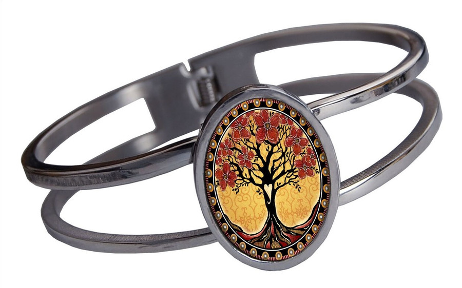 Tree of Life Yellow Stainless Cuff Bracelet