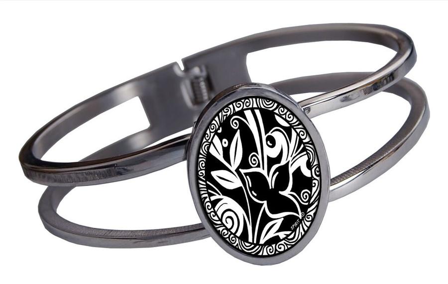 Leaf Flower Black Stainless Cuff Bracelet