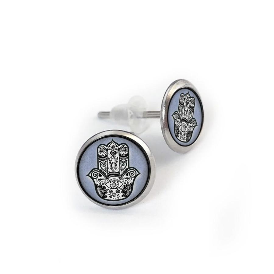 Blue Hamsa Hand Stainless Stud Earring