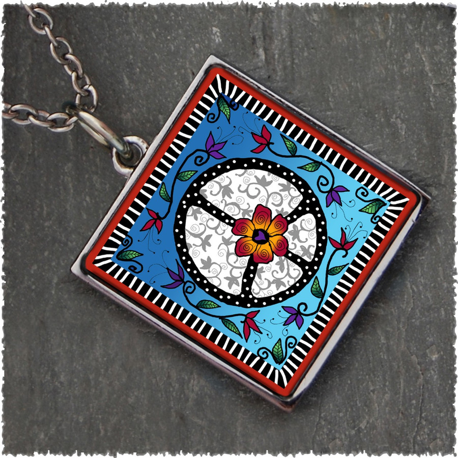 Peace Square Reversible Pendant