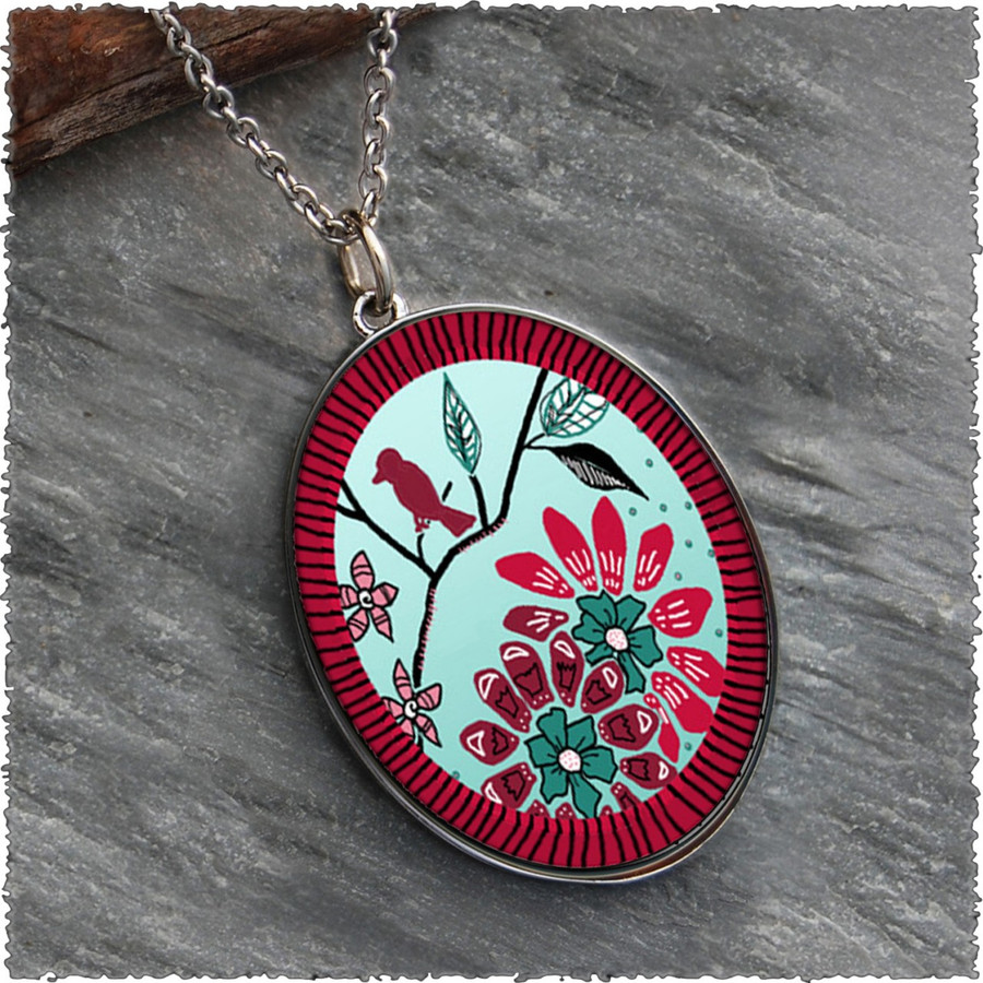 Bird Flower Reversible Silver Oval Pendant