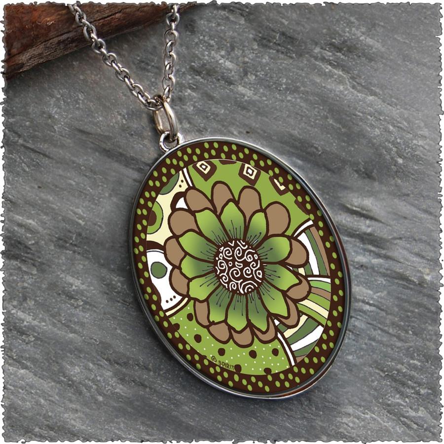 Green Brown Flower Reversible Silver Oval Pendants