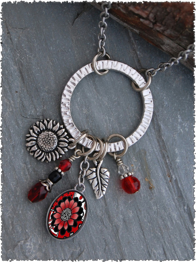 Black White Red Flower Pewter Circle of Life Pendant