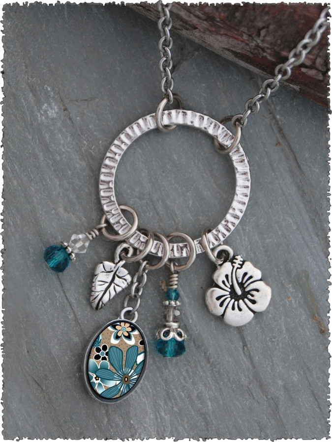 Teal Flower Pewter Circle of Life Pendant