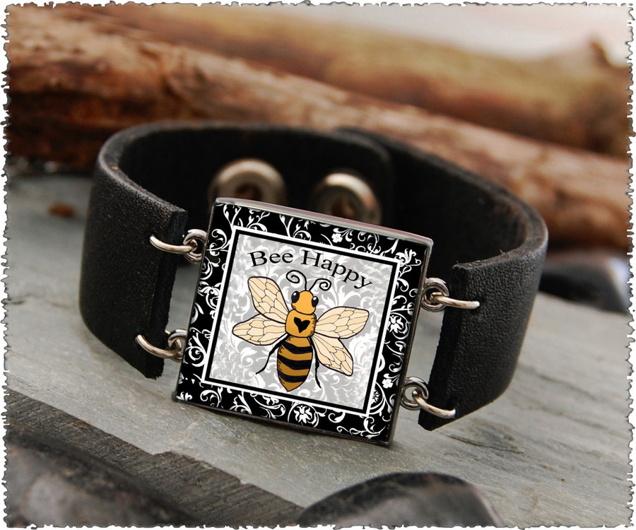 Bee Double Sided Leather Cuff Bracelet