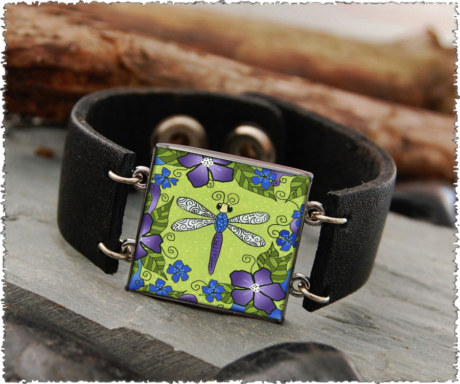 Dragonfly Double Sided Leather Cuff Bracelet