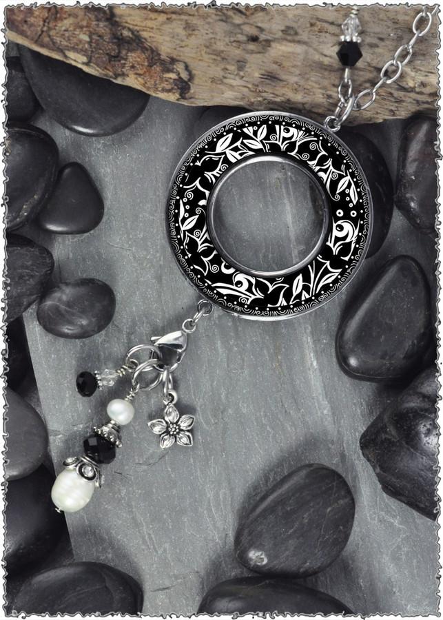 Flowers Black Reversible Beaded Open Circle Charm Pendant